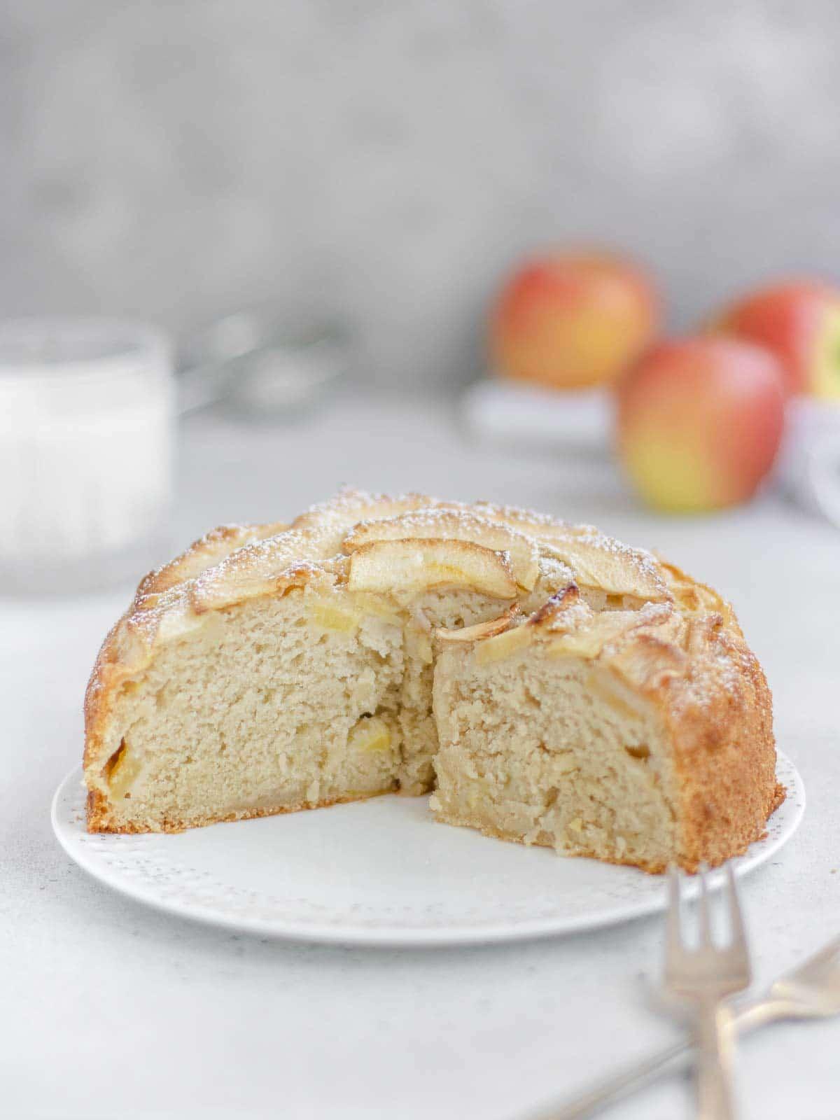 sliced vegan apple cake