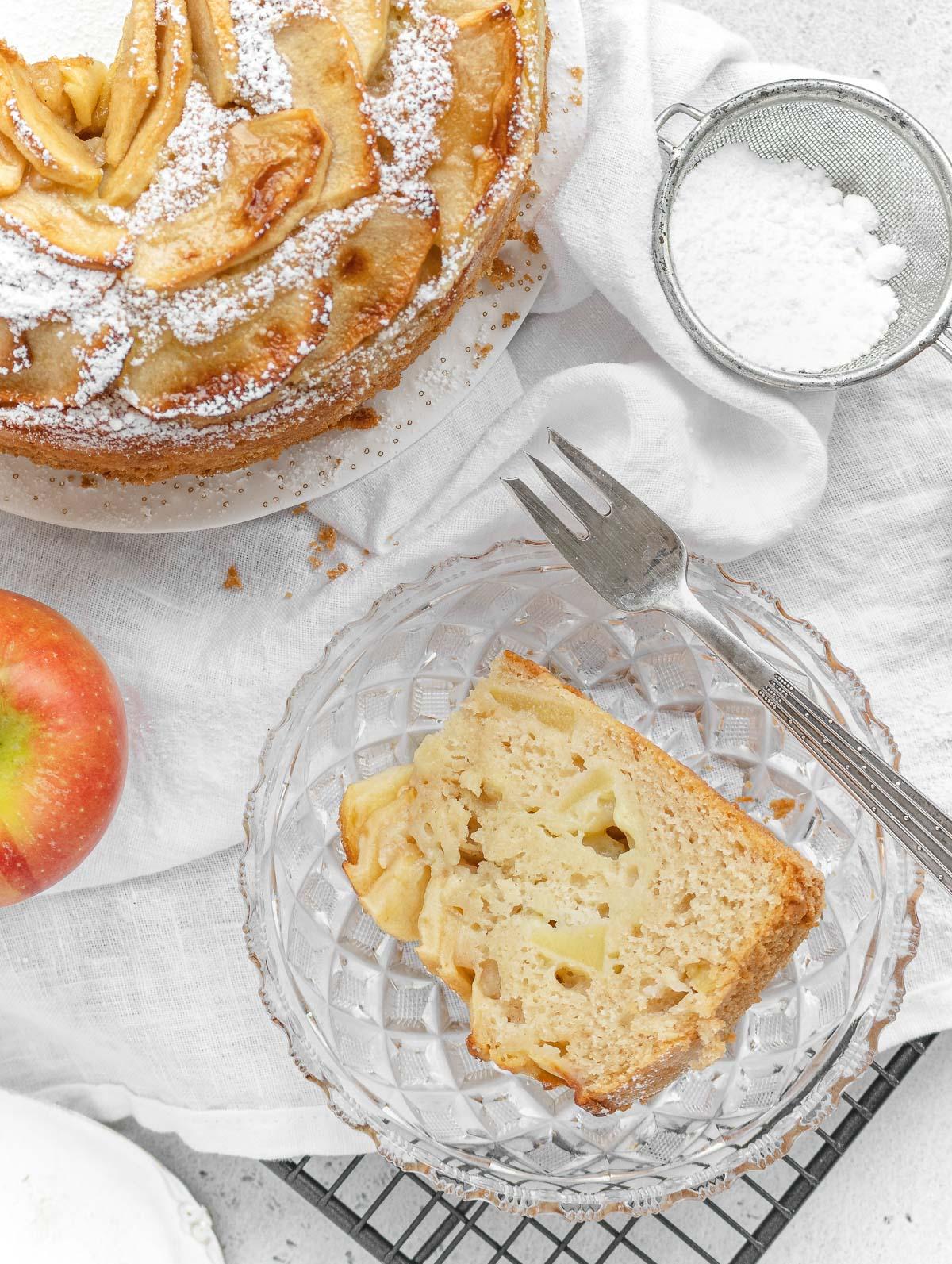 vegan apple cake with custard