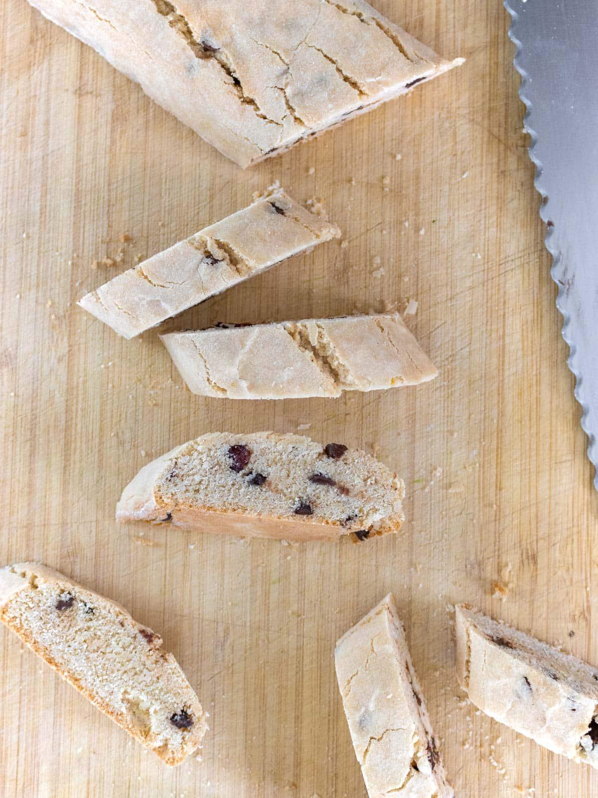 cutting the biscotti