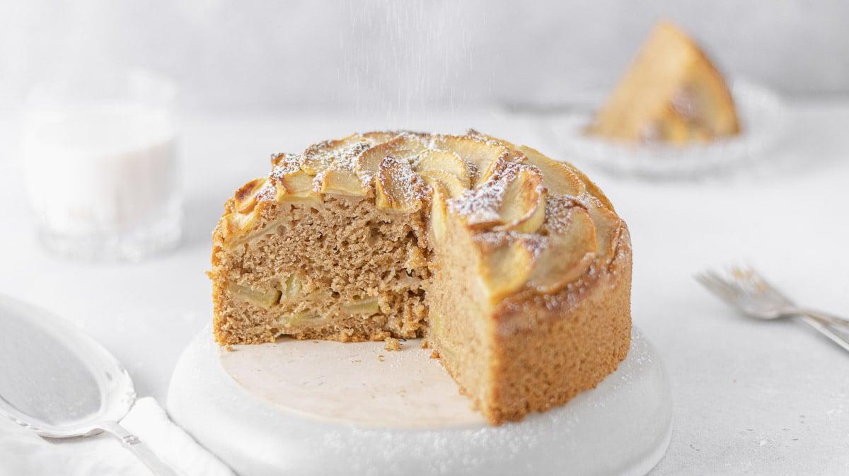 wholegrain vegan apple cake