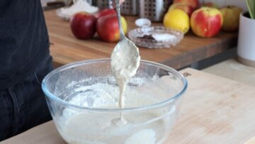 Step 4: mixing the pancake batter with a spatula