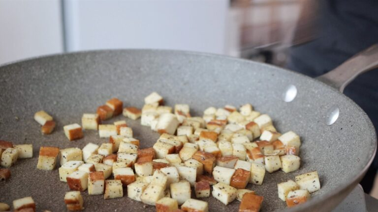 Cooking the tofu on a pan instead of the bacon