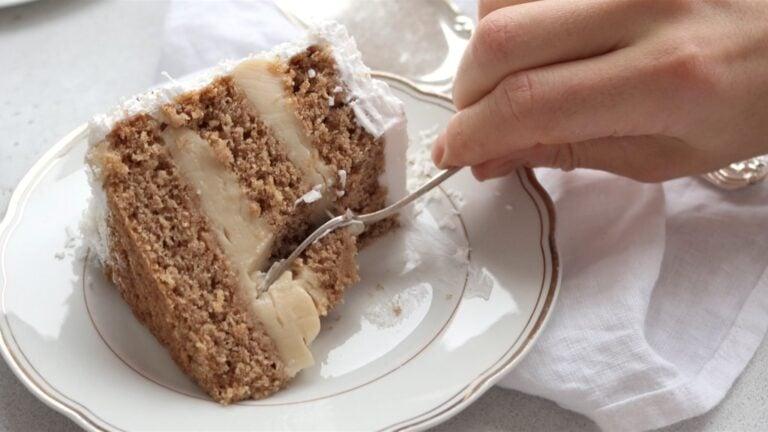 serving the vegan coconut cake