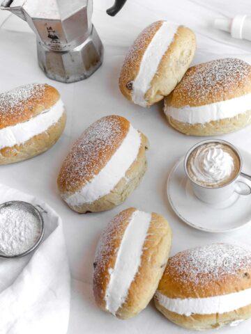 vegan maritozzi filled with whipped cream