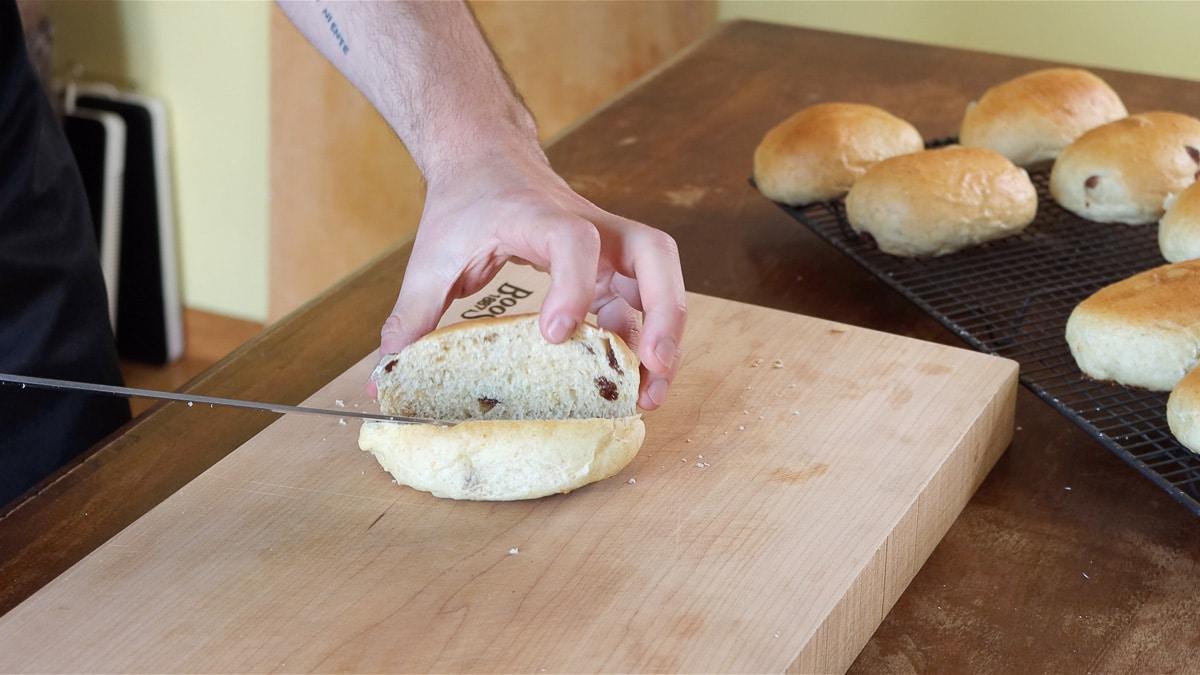 Vegan Italian cream bun cut open