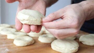 Sealing the Italian doughnuts