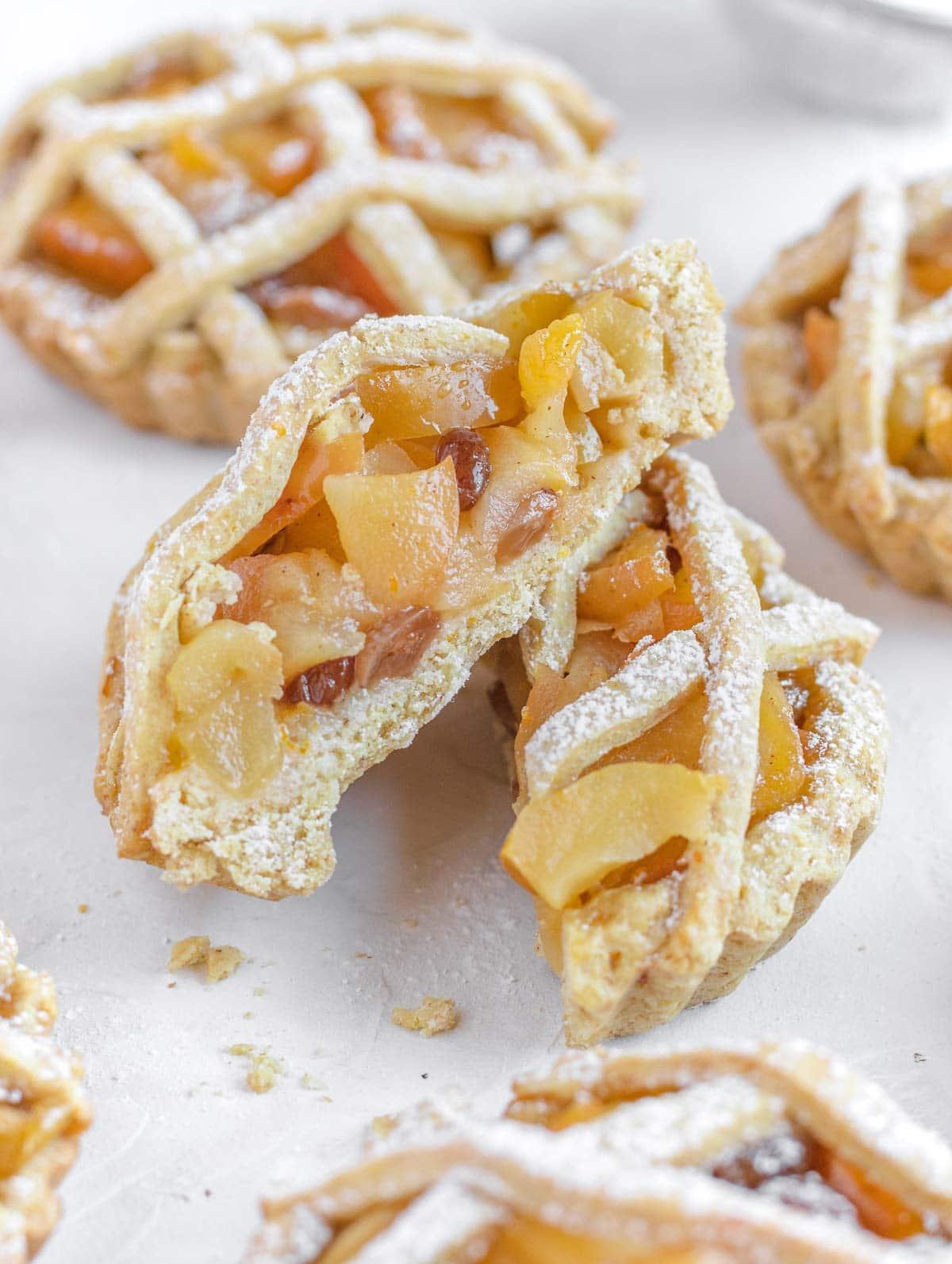 Cut open mini apple tart