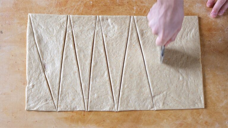 making triangles out of the dough