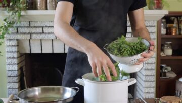 cooking the cime di rapa in boiling water