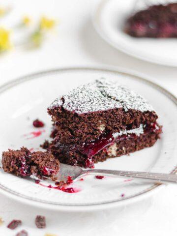 vegan chocolate and sour cherry cake recipe