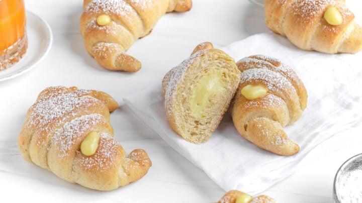 vegan brioche bread croissants with pastry cream