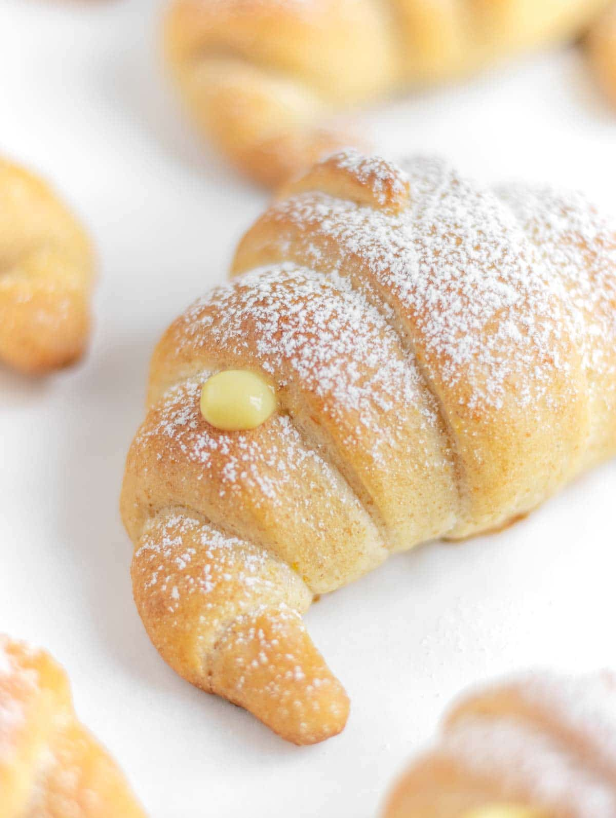 close up vegan brioche croissant