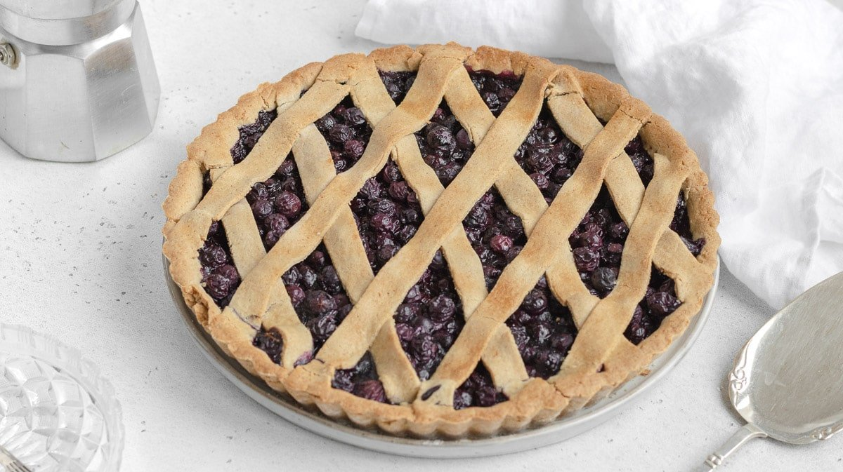 vegan Italian crostata with blueberries