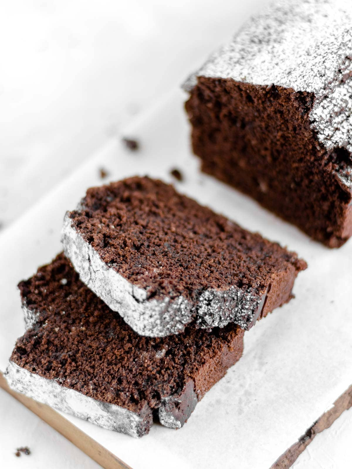 chocolate pound cake on a cutting board