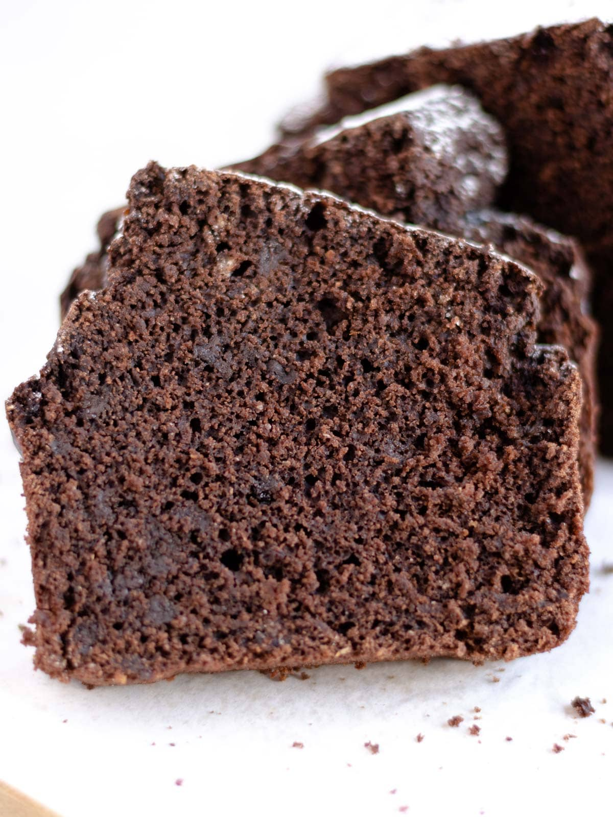 close up slice of vegan chocolate poundcake