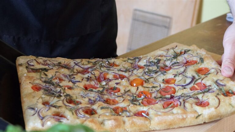Ready to cut and eat the focaccia