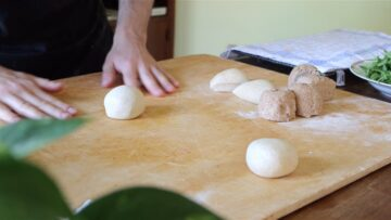 shaping the dough in small balls