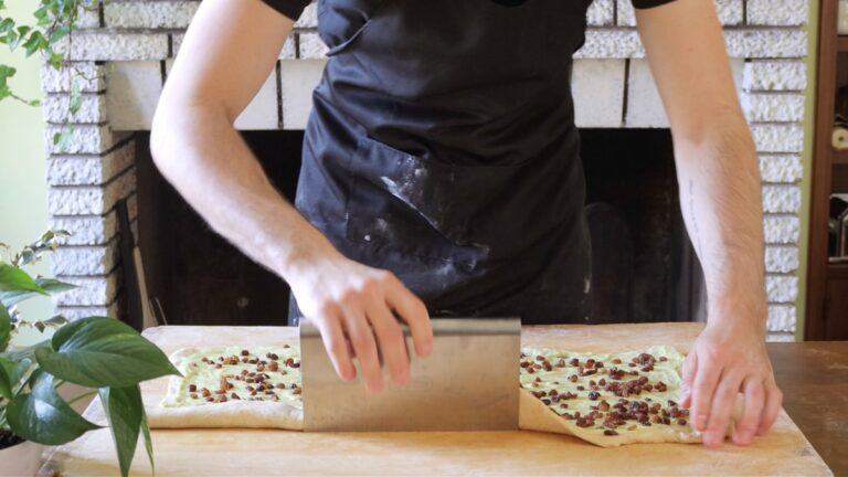 rolling the dough into a long roll