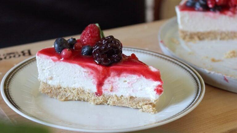 slice of vegan cheesecake