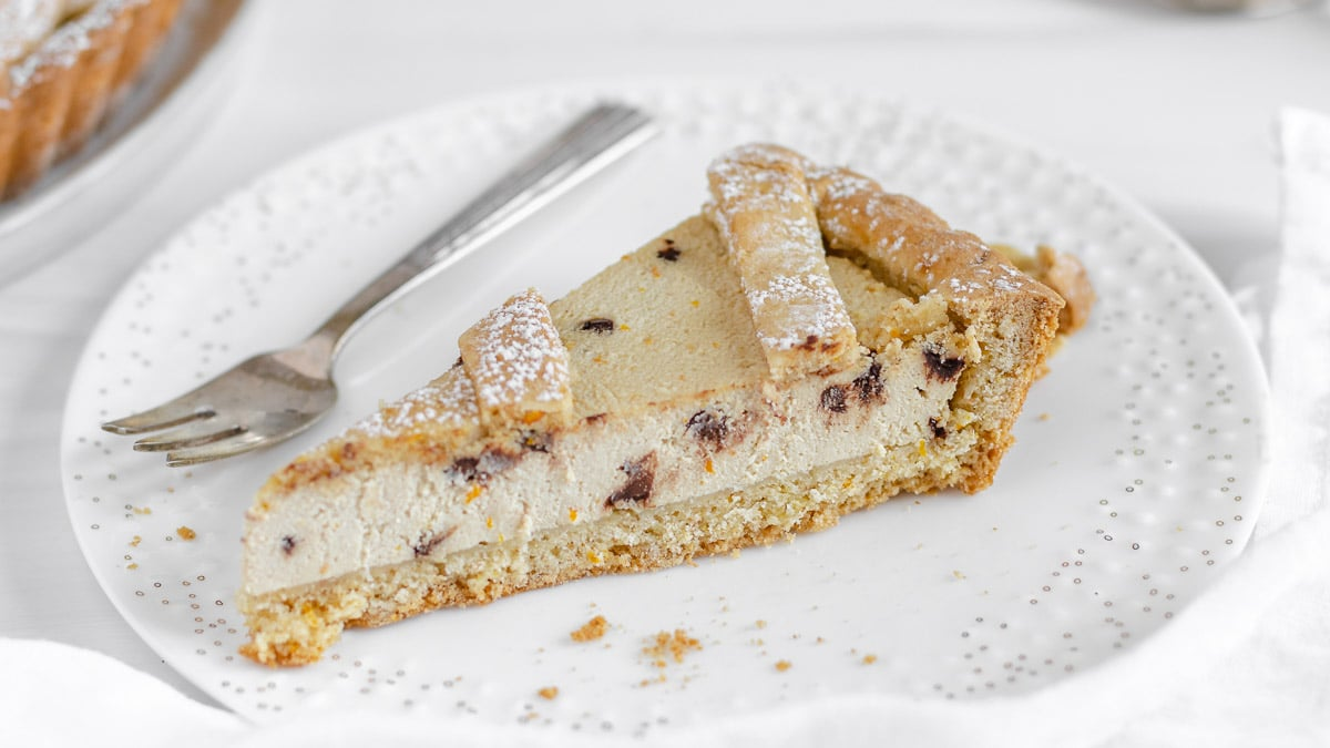 a slice of vegan ricotta pie