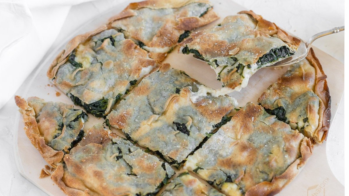 focaccia with cheese and spinach cut in squared