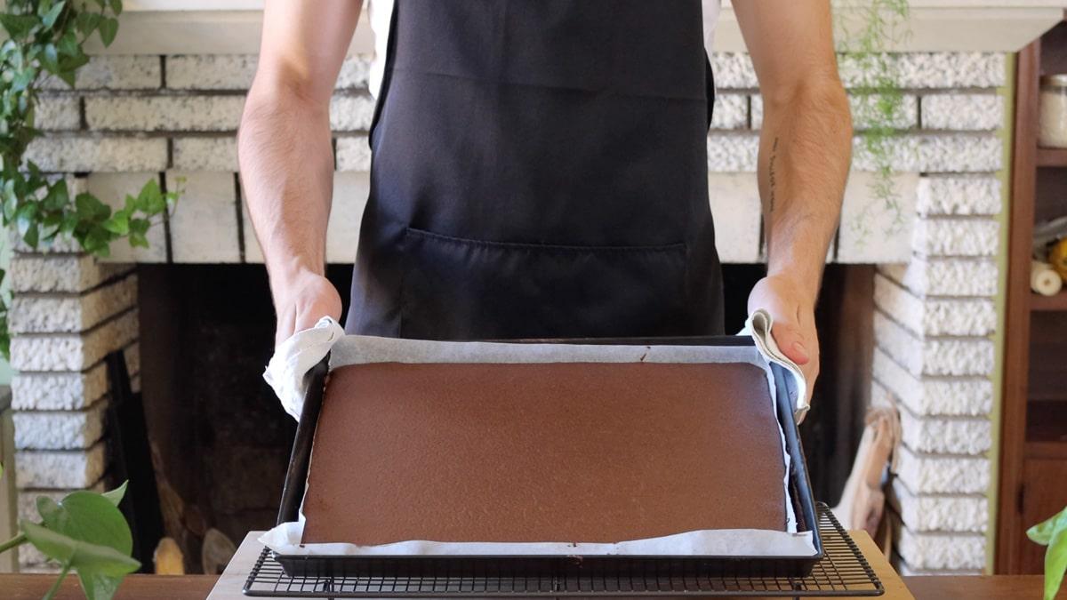 chocolate sponge in the baking sheet