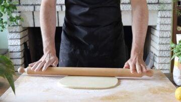 rolling the vegan shortcrust pastry