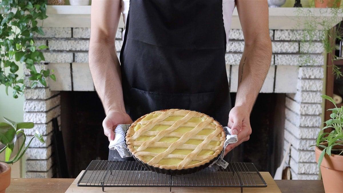 vegan lemon tart with soft crust just baked