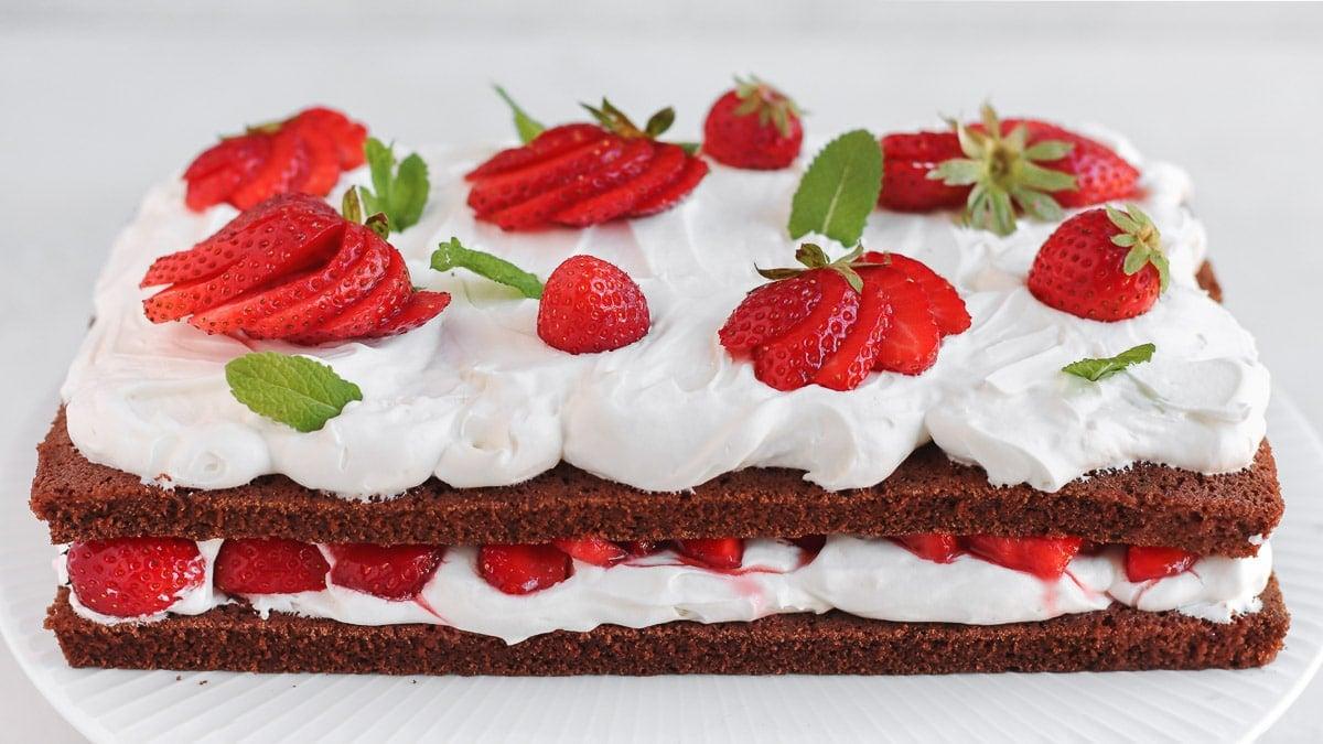 double sheet chocolate strawberry cake