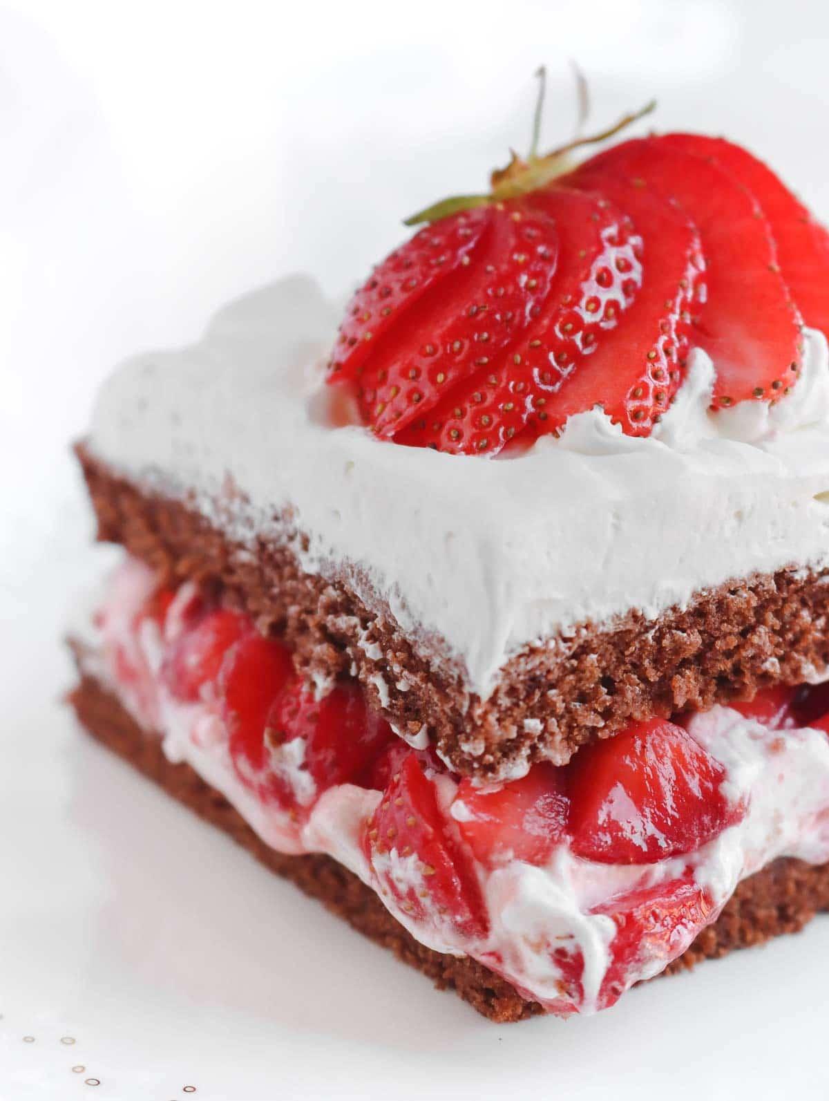 slice of vegan chocolate strawberry cake