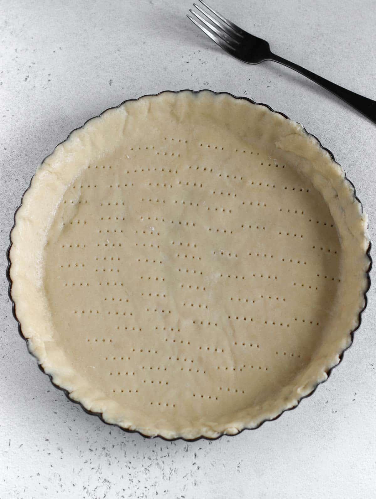 pie curst in the pie dish