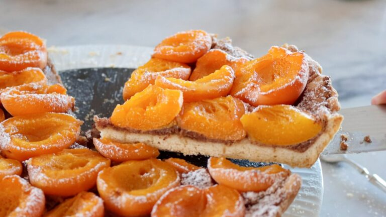 slice of apricot tart just baked