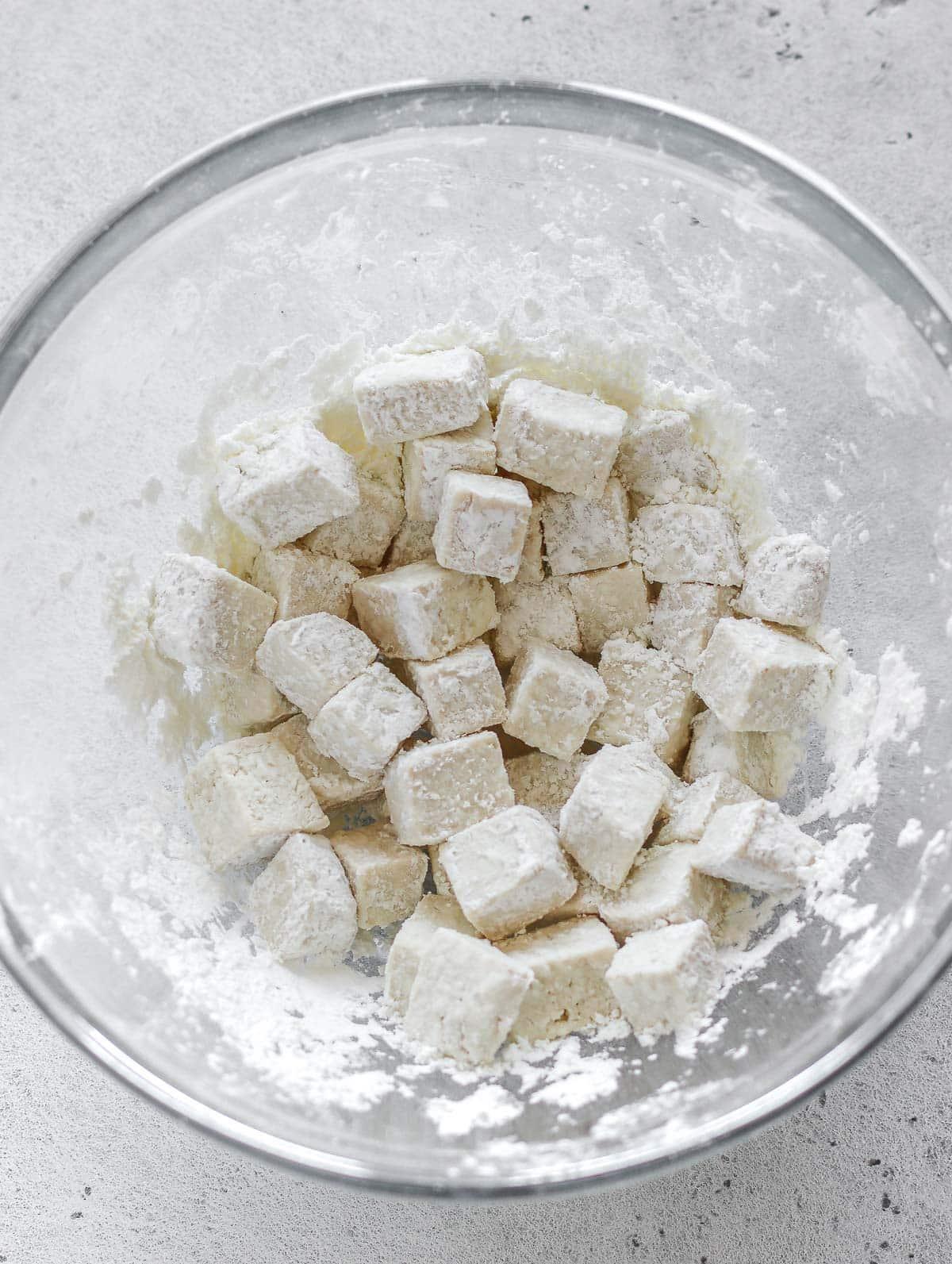 diced tofu in cornstarch