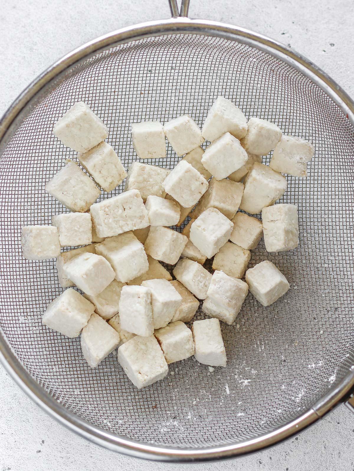 tofu coated in cornstarch