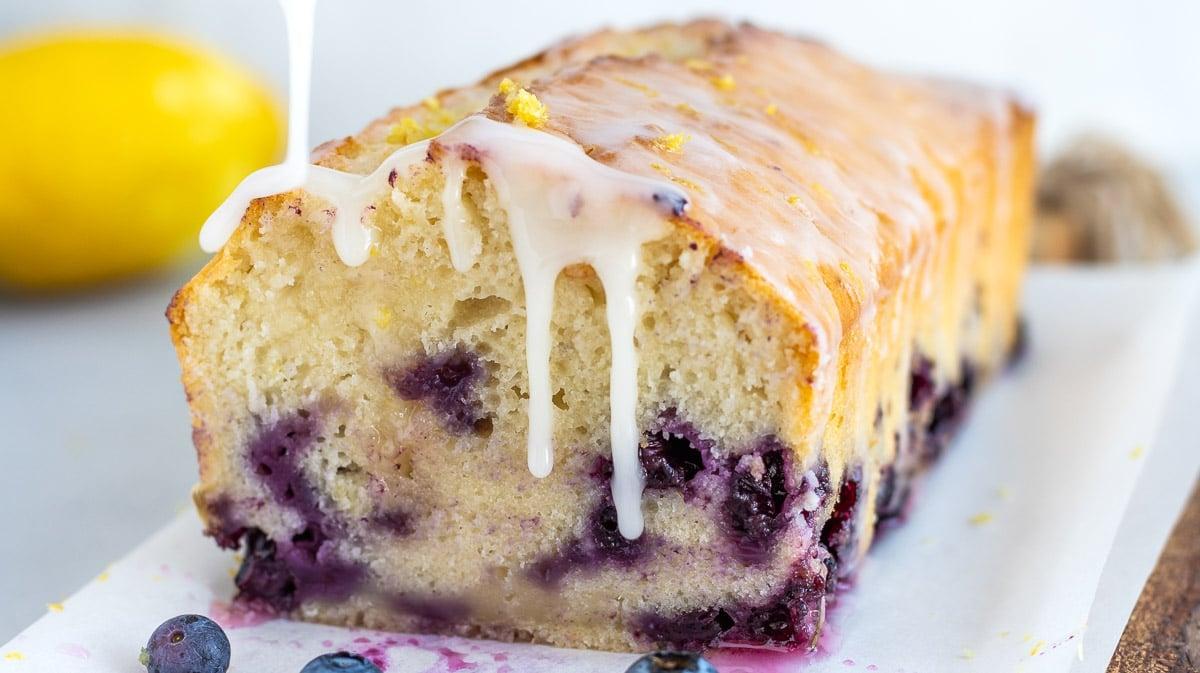 lemon blueberry pound cake with lemon icing