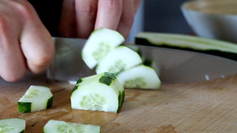 cutting the cucumber