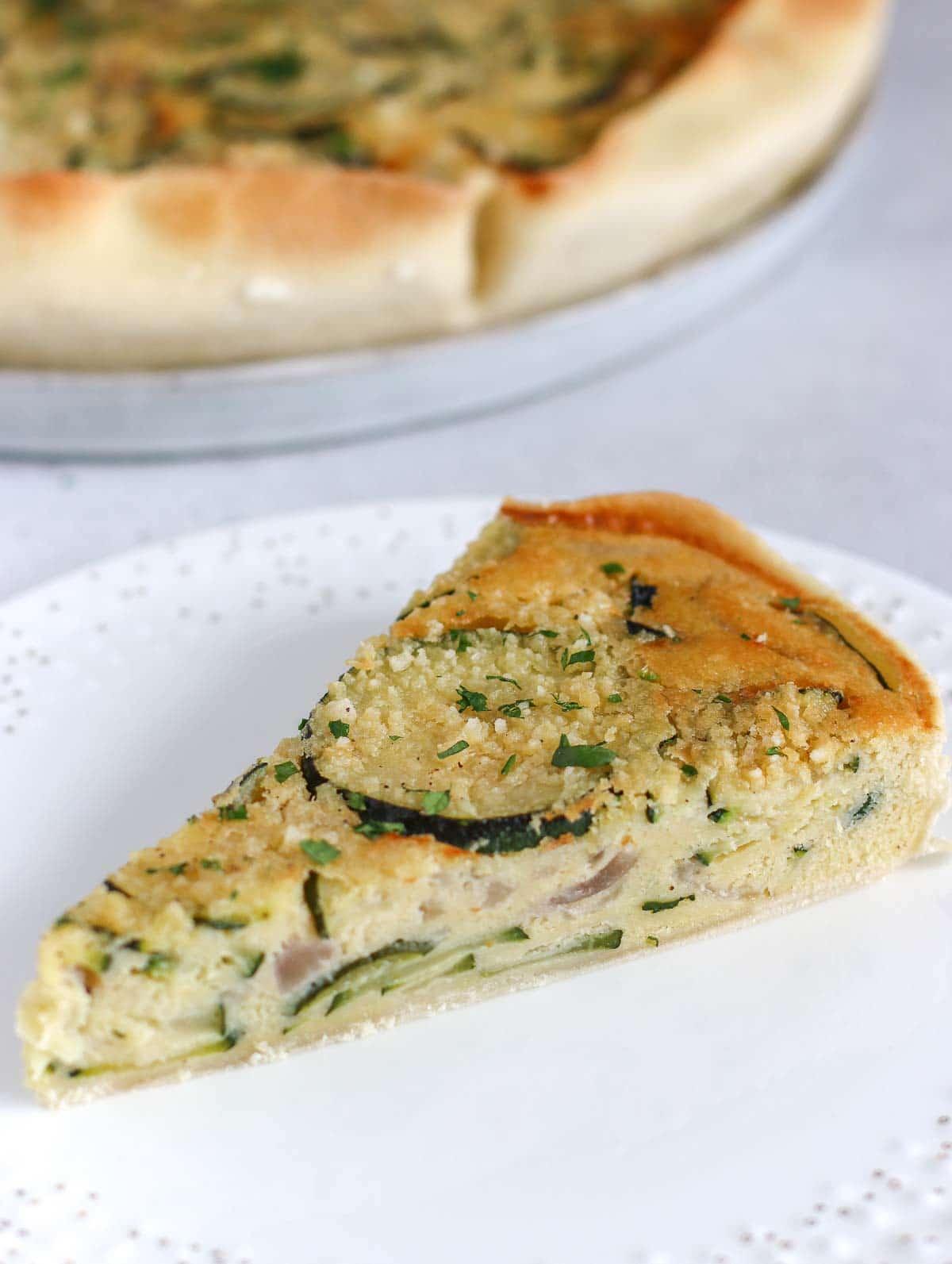 a slice of zucchini pie
