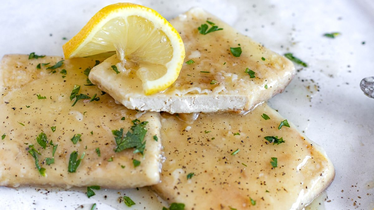 pan fried tofu with lemon