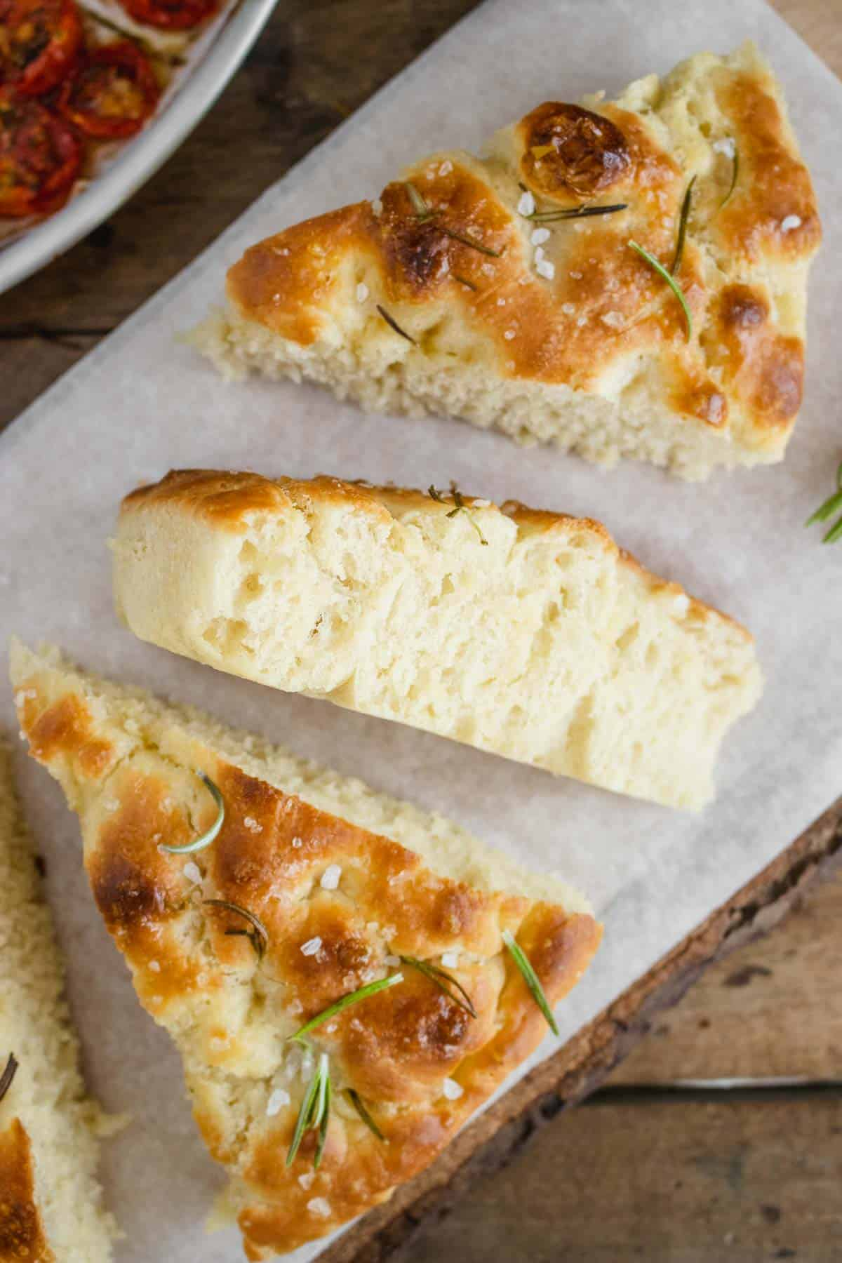 focaccia no knead with rosemary