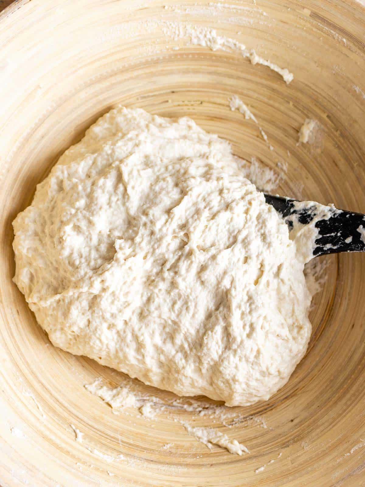 Wet focaccia no knead dough