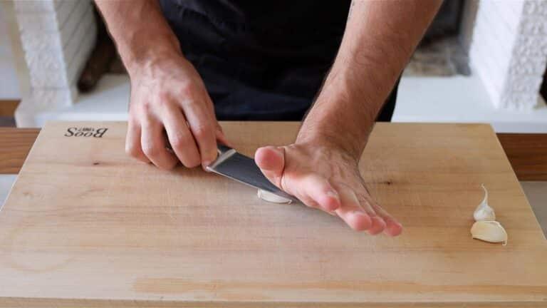 smacking down the garlic