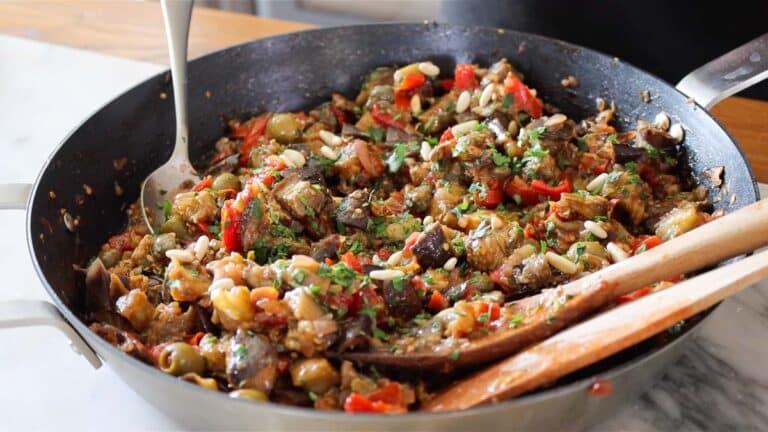 eggplant caponata in a pan