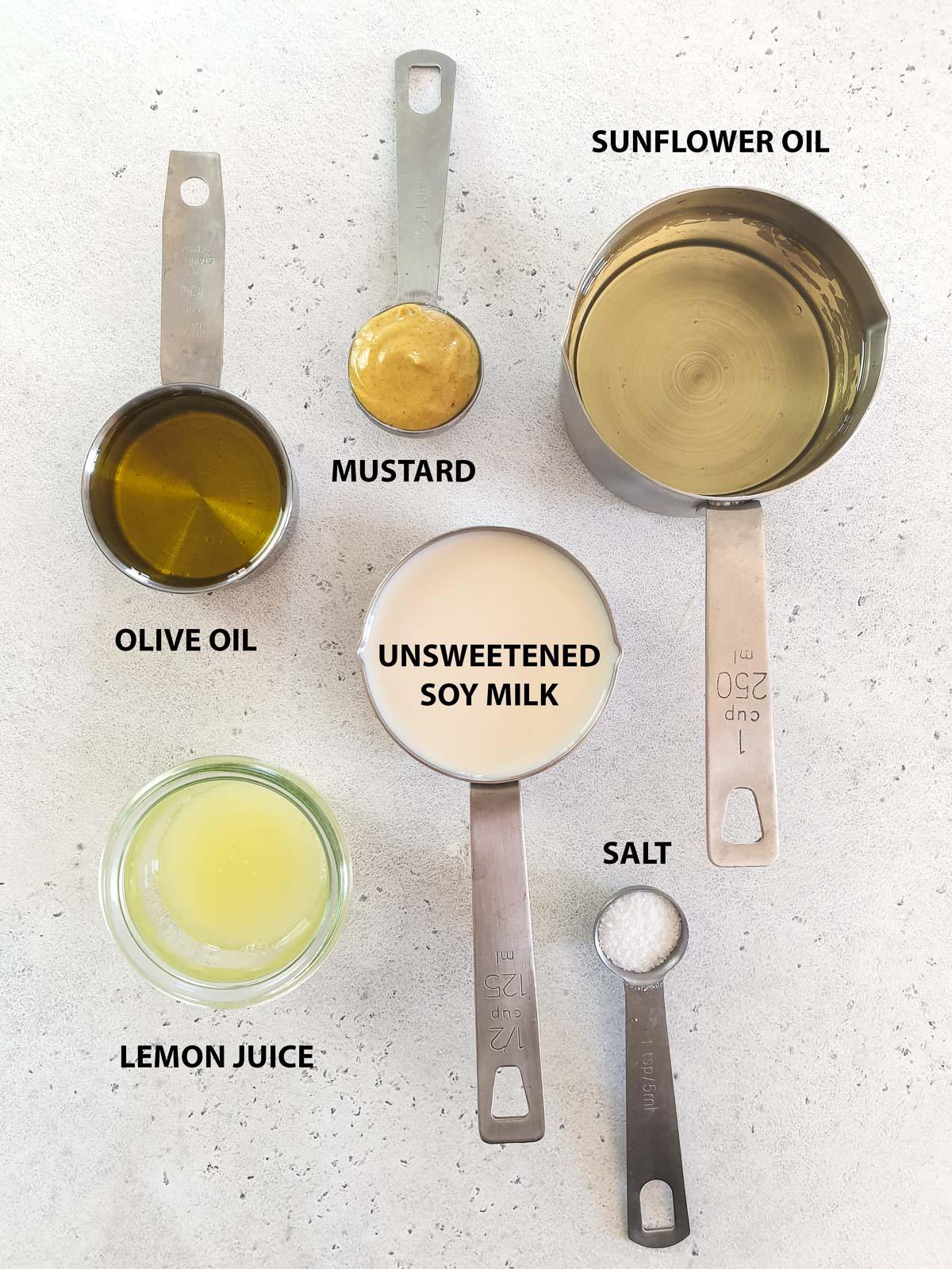 ingredients for vegan mayo