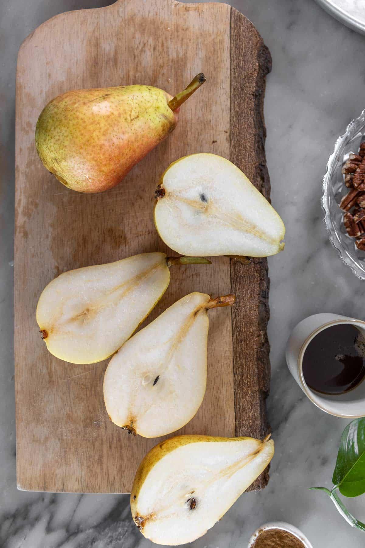 pears cut in half