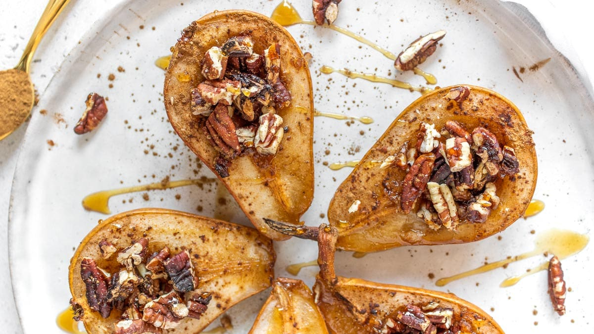 baked pears on a serving platter