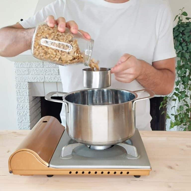 toasting the walnuts in a pot