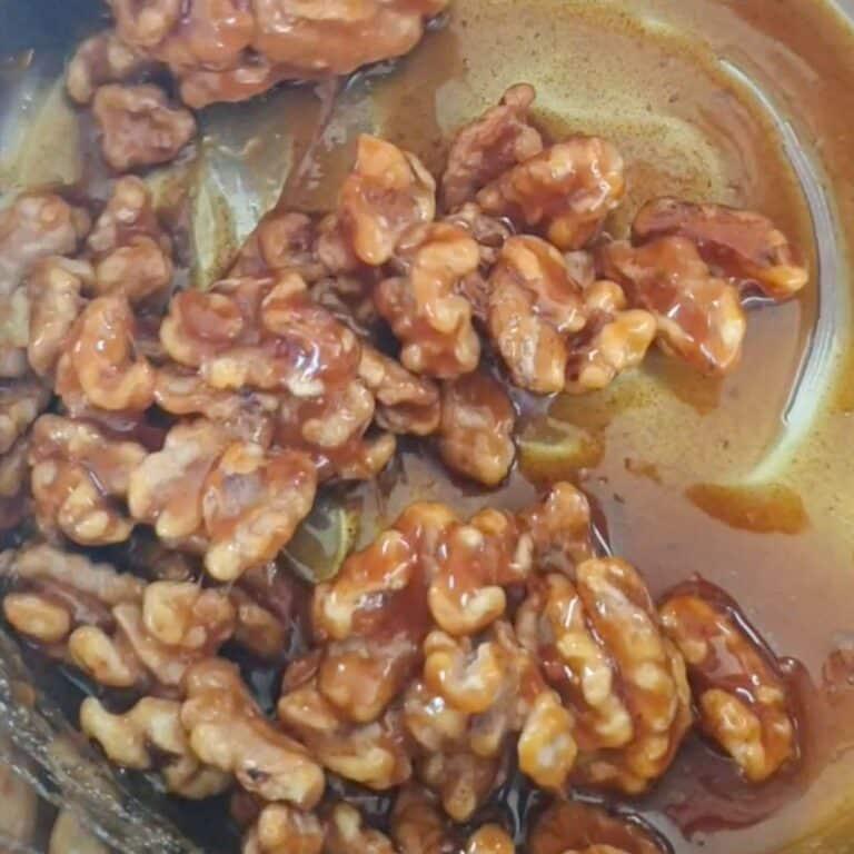 walnuts and melted sugar