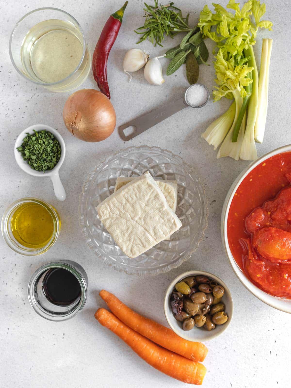 ingredients for tofu cacciatore