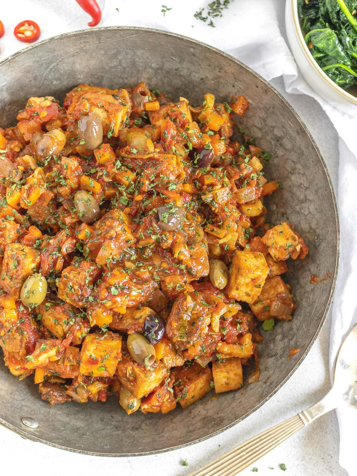 cacciatore sauce with tofu in a pan