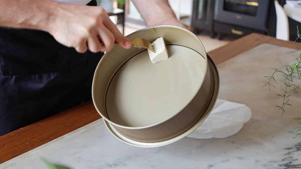 buttering the springform pan